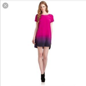 Gryphon Dip Dye Ombré Silk Dress XS Magenta